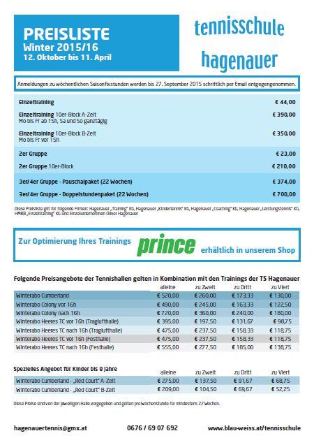 Preisliste Winter 2015/16